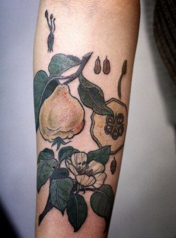 Pear and flower tattoo idea