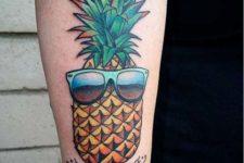 Pineapple and sunglasses tattoo idea