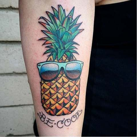 Pineapple and sunglasses tattoo idea