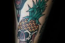 Pineapple with a skull tattoo design