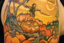 Pumpkins, tree and birds tattoo