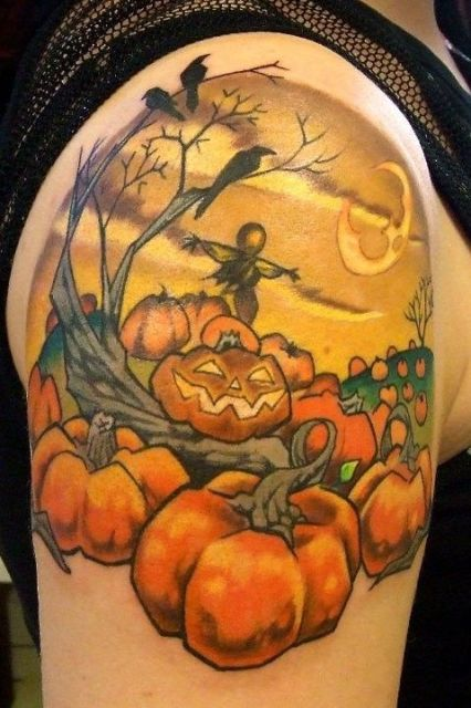 Pumpkins, tree and birds tattoo