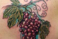 Purple grape tattoo on the back