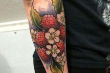 Raspberry, leaves and flowers tattoo