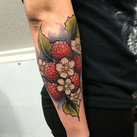 Raspberry, leaves and flowers tattoo