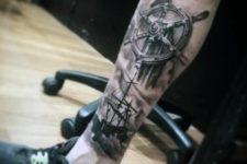 Realistic ship wheel and ship tattoo on the leg