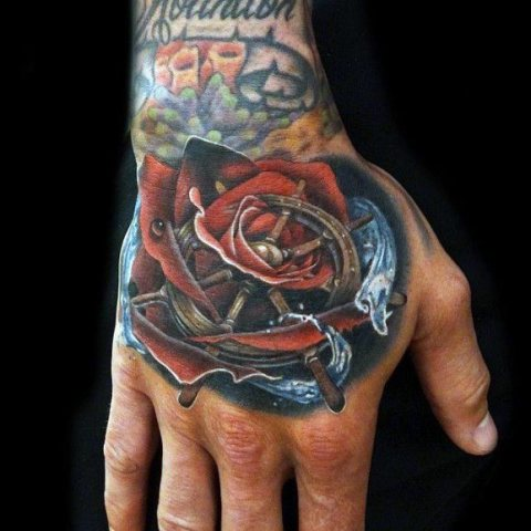 Picture Of Red Rose Blue Water And Ship Wheel Tattoo On The Hand