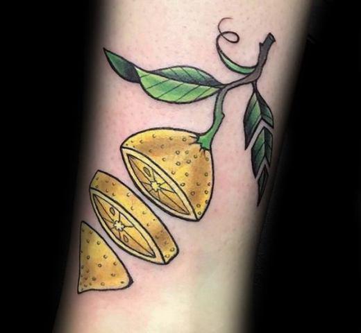 Sliced lemon tattoo