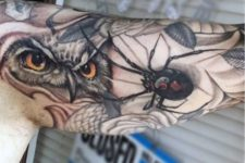 Spider and owl tattoos on the arm