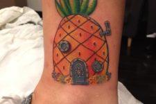 Sponge Bob's pineapple house tattoo