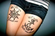 Tattoo with a quote on the legs