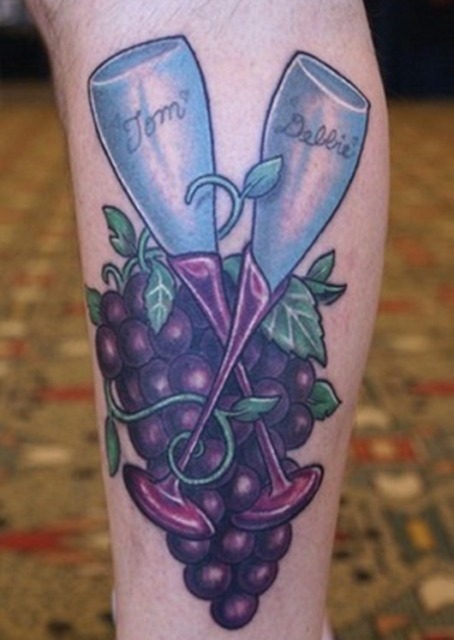 Two wine glasses with grapes tattoo idea