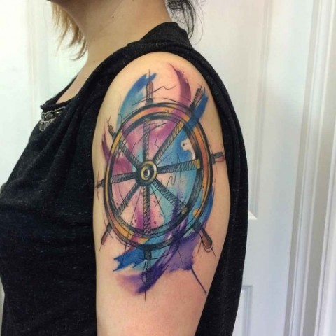 Watercolor tattoo on the shoulder