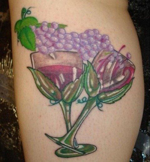 Wine glasses and grape tattoo
