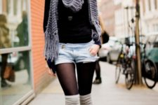 With black shirt, scarf, denim shorts and tights