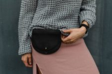 With gray sweater and pale pink maxi skirt