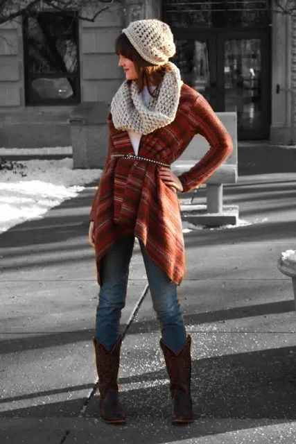 With hat, scarf, printed sweater and jeans