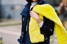 With jacket, yellow scarf, white shirt and skirt