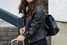 With leather jacket, tote and pants