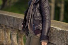 With light brown cardigan and olive green pants