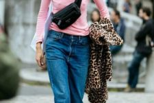 With light pink shirt, loose jeans, sneakers and leopard coat