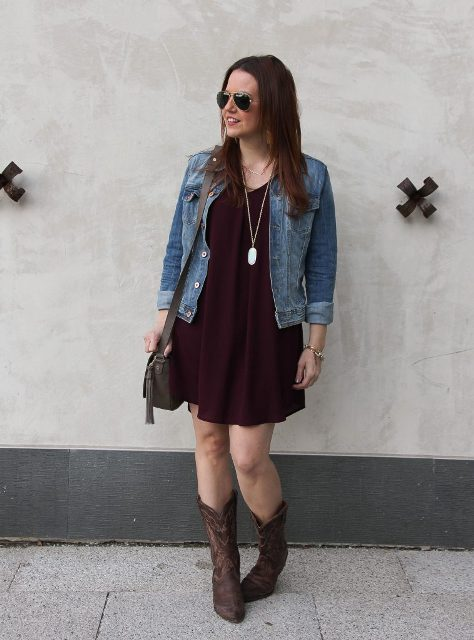 With marsala dress, denim jacket and dark gray bag