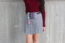 With marsala shirt, marsala leather ankle boots and printed mini skirt