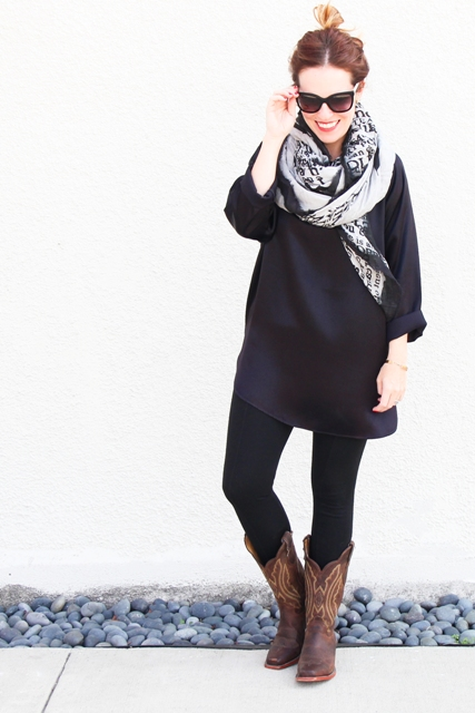 With navy blue dress, printed scarf and black tights