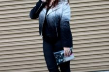 With ombre jacket, jeans, clutch and suede boots