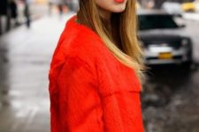 With red jacket