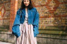 With ruffled maxi dress, denim jacket and bag