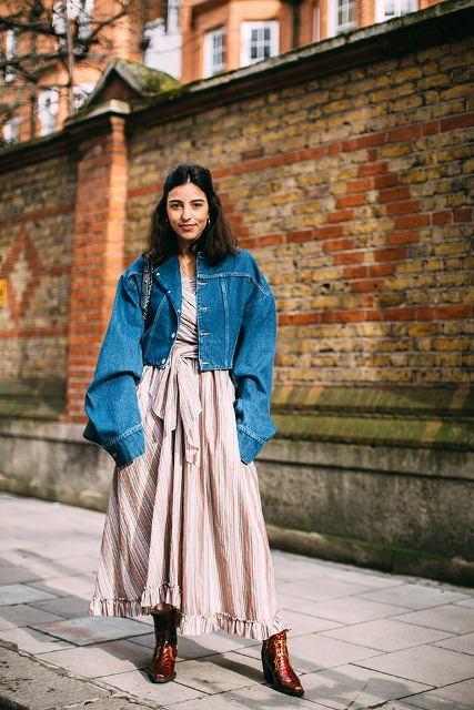 With ruffled maxi dress, denim jacket and bag
