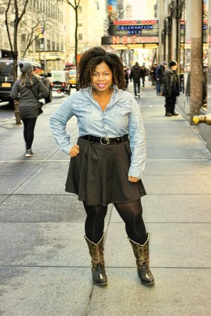 With skirt and denim shirt