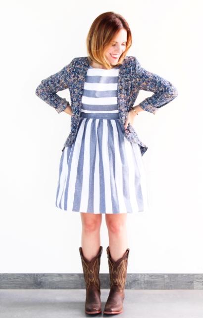 With striped dress and blazer