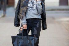 With sweatshirt, leather jacket, skinny pants, high heels and black tote