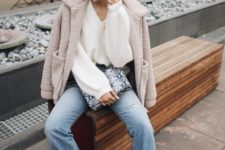 With yellow beret, sunglasses, cuffed jeans, black ankle boots, white sweater and printed clutch