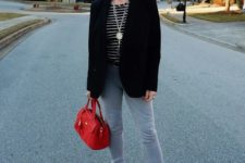 light blue skinnies, a striped tee, an oversized blazer, grey peep toe booties a red bag