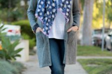 navy jeans, a white tee, a grey cardigan, grey booties, a floral scarf for a casual feel