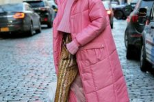 02 a cropped pink sweater, colorful striped cropped pants, camel sneakers and a midi pink puffed coat
