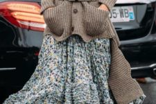 02 a floral dress with a high low skirt, a grey turtleneck, burgundy boots, a grey high low cardigan with a belt for a statement
