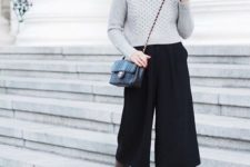 02 a grey turtleneck sweater, black culottes, taupe suede boots and a black bag for winter