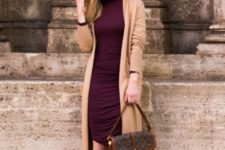 02 a plum-colored draped knee dress and matching boots, a camel cardigan and a chic bag for winter