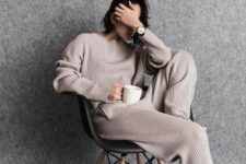 02 a striped neutral cashmere tracksuit is an ideal piece for winter homewear, you won't need more
