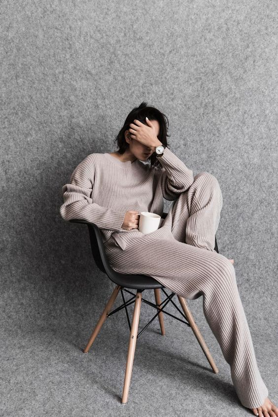 a striped neutral cashmere tracksuit is an ideal piece for winter homewear, you won't need more
