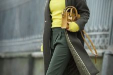 03 a dark green bag and cropped pants, leopard boots, a neone yellow sweater and a mustard bag