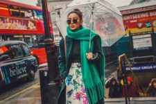 03 a dark green turtleneck, a floral idi skirt, trainers, a teal coat and an emerald scarf for a bright statement