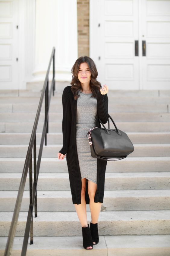 a grey bodycon dress, a long black cardigan and a black bag and peep toe booties in black