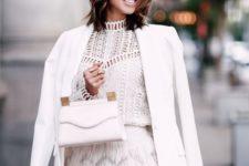 03 a white crochet lace top, a white feather mini skirt, a white blazer and a white bag