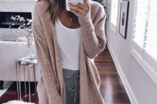 03 grey joggers, a white tee, a blush cardigan for a comfortable winter layering look