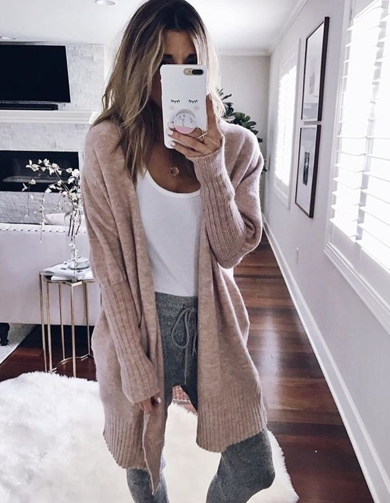 grey joggers, a white tee, a blush cardigan for a comfortable winter layering look